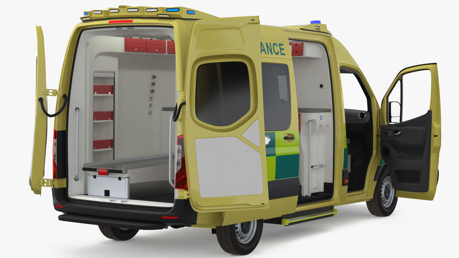 Emergency Ambulance Rigged royalty-free 3d model - Preview no. 4