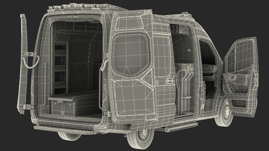 Emergency Ambulance Rigged royalty-free 3d model - Preview no. 31