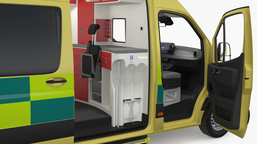 Emergency Ambulance Rigged royalty-free 3d model - Preview no. 20