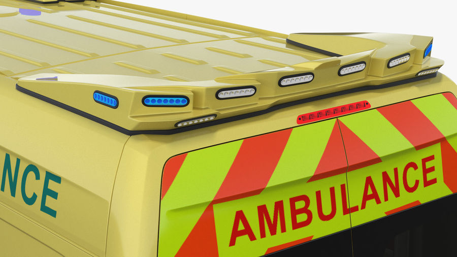 Emergency Ambulance Rigged royalty-free 3d model - Preview no. 14