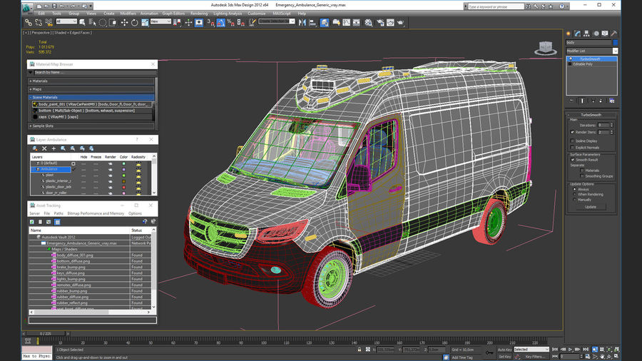 Emergency Ambulance Rigged royalty-free 3d model - Preview no. 29