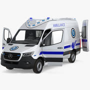 Mercedes Benz Sprinter Ambulance Rigged 3d model
