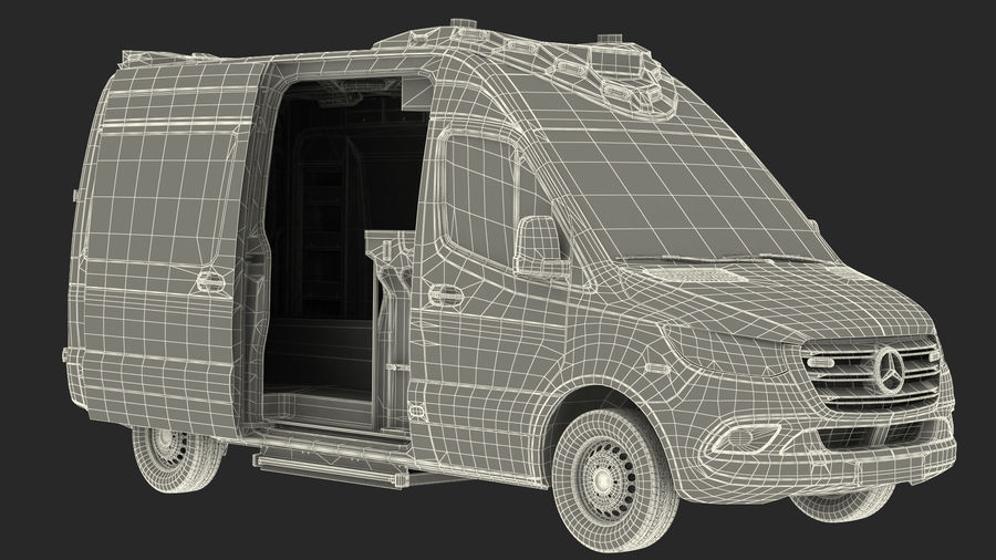 Meredes Benz Sprinter Emergency Ambulance Rigged royalty-free 3d model - Preview no. 32