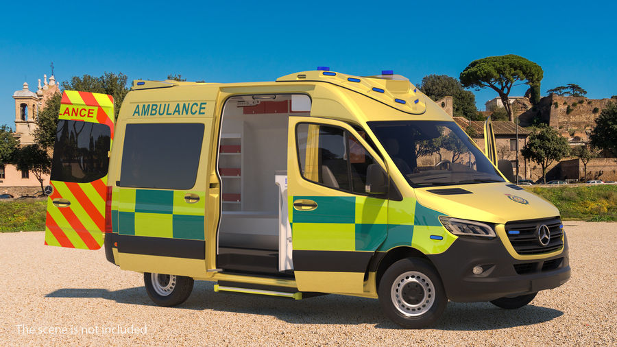 Meredes Benz Sprinter Emergency Ambulance Rigged royalty-free 3d model - Preview no. 2