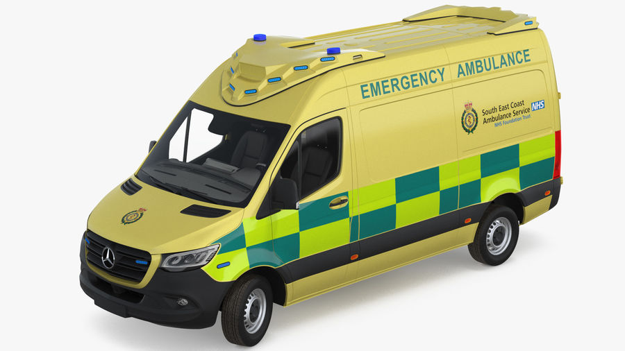 Meredes Benz Sprinter Emergency Ambulance Rigged royalty-free 3d model - Preview no. 7