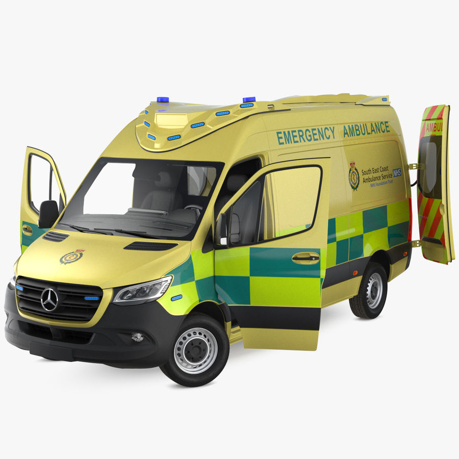 Meredes Benz Sprinter Emergency Ambulance Rigged royalty-free 3d model - Preview no. 1