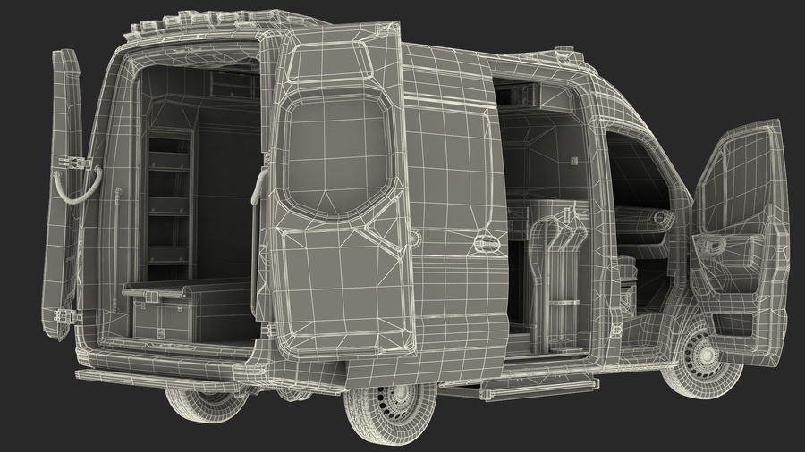 Meredes Benz Sprinter Emergency Ambulance Rigged royalty-free 3d model - Preview no. 31