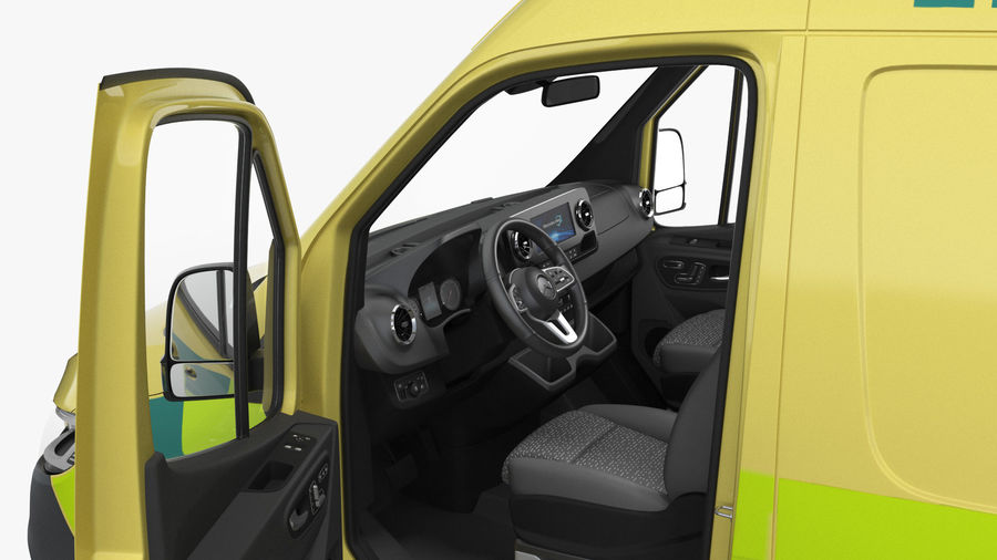 Meredes Benz Sprinter Emergency Ambulance Rigged royalty-free 3d model - Preview no. 11