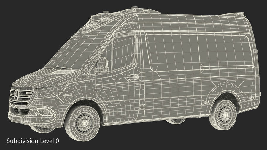 Meredes Benz Sprinter Emergency Ambulance Rigged royalty-free 3d model - Preview no. 25