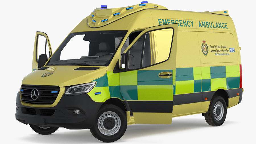 Meredes Benz Sprinter Emergency Ambulance Rigged royalty-free 3d model - Preview no. 4