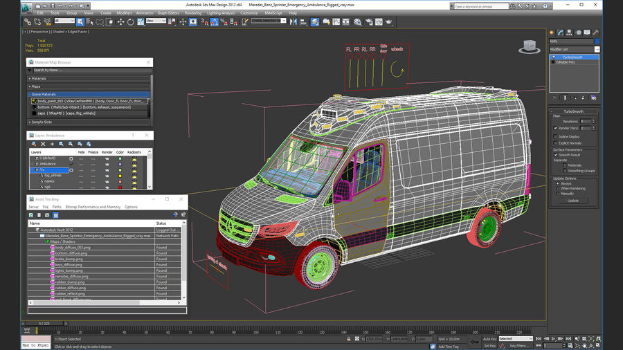 Meredes Benz Sprinter Emergency Ambulance Rigged royalty-free 3d model - Preview no. 29