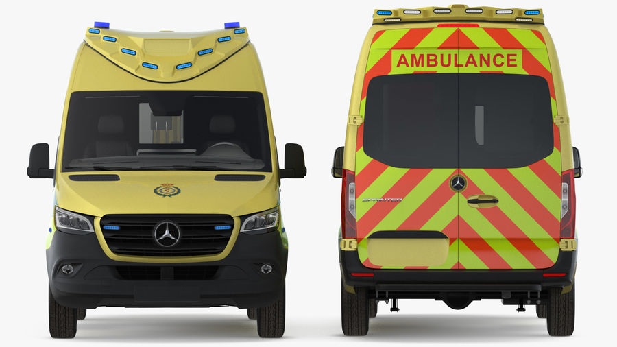 Meredes Benz Sprinter Emergency Ambulance Rigged royalty-free 3d model - Preview no. 6