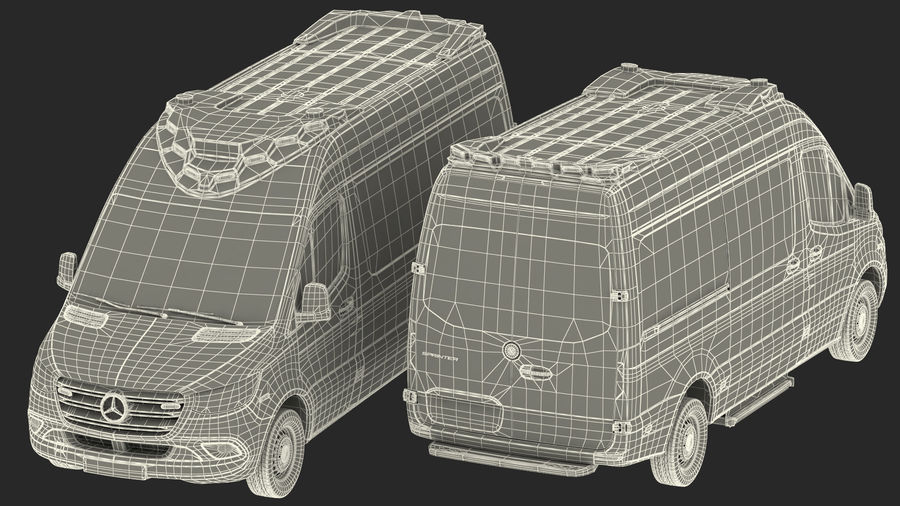 Meredes Benz Sprinter Emergency Ambulance Rigged royalty-free 3d model - Preview no. 30
