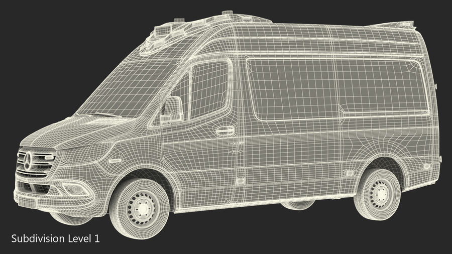 Meredes Benz Sprinter Emergency Ambulance Rigged royalty-free 3d model - Preview no. 26