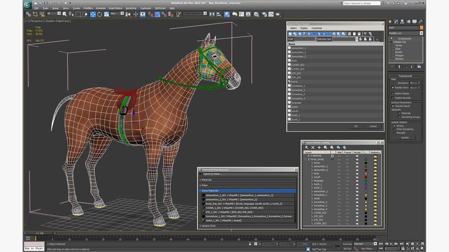 Bay Racehorse royalty-free 3d model - Preview no. 25
