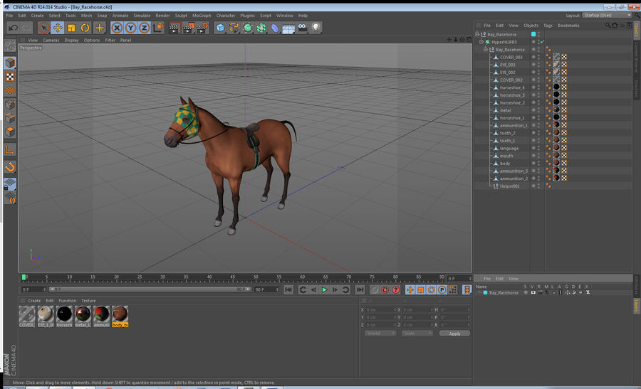 Bay Racehorse royalty-free 3d model - Preview no. 24
