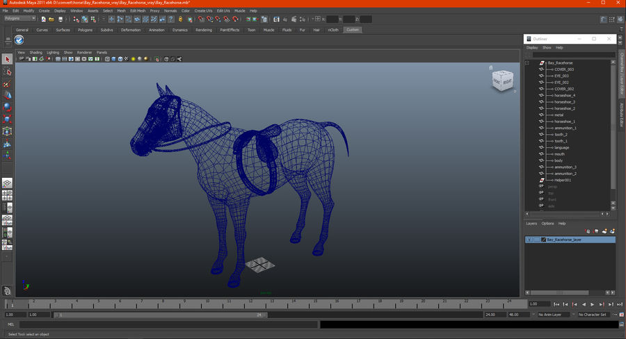 Bay Racehorse royalty-free 3d model - Preview no. 23