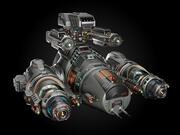 Sci Fi Military Battleship Rigged 3d model