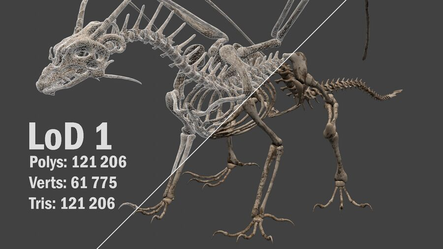 Bone Dragon royalty-free 3d model - Preview no. 14