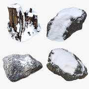 Elementy śniegu natury 01 3d model