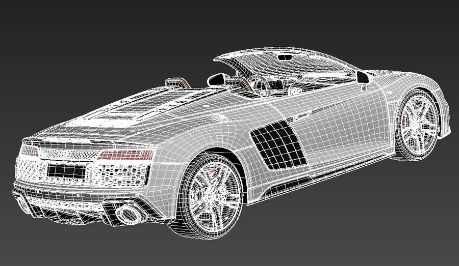 Audi R8 Spyder 2021 royalty-free 3d model - Preview no. 14