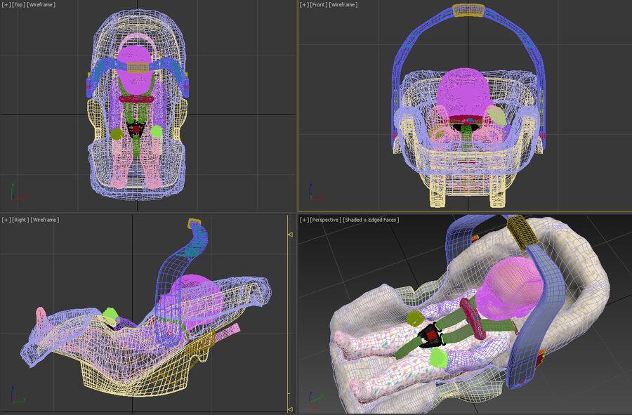 spädbarn i barnstol royalty-free 3d model - Preview no. 20