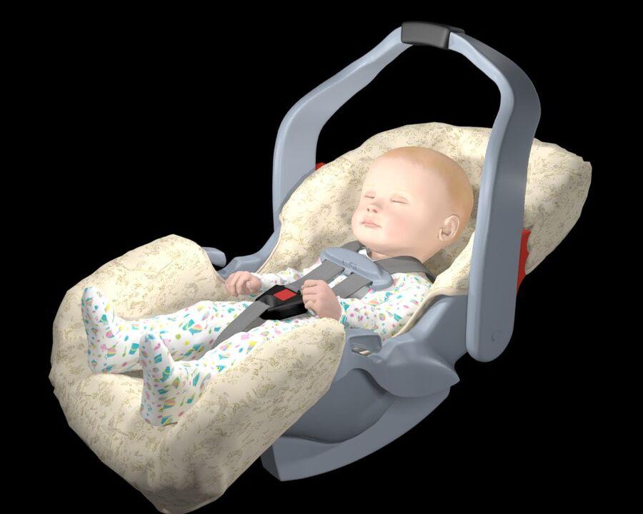 spädbarn i barnstol royalty-free 3d model - Preview no. 4