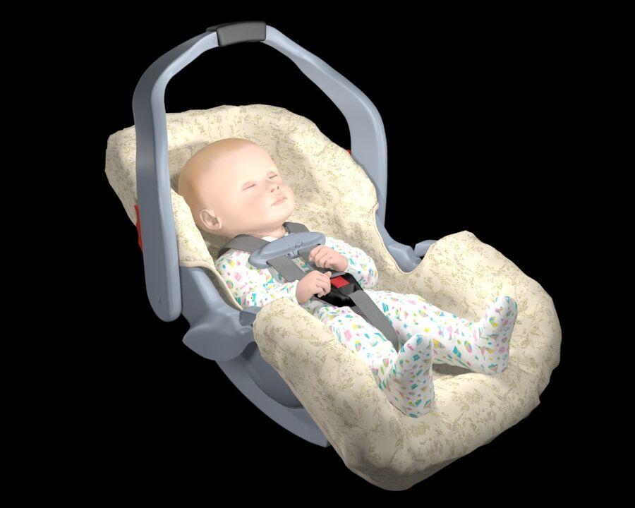 spädbarn i barnstol royalty-free 3d model - Preview no. 9