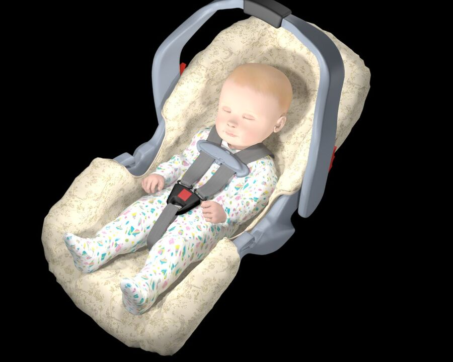 spädbarn i barnstol royalty-free 3d model - Preview no. 16