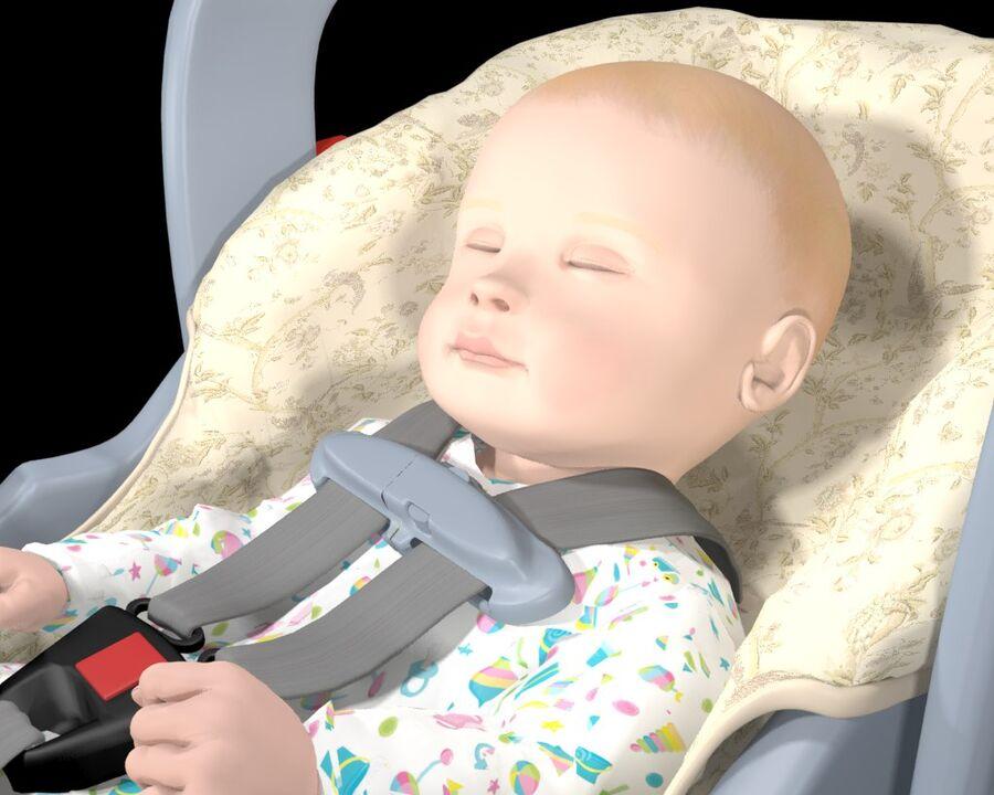 spädbarn i barnstol royalty-free 3d model - Preview no. 8