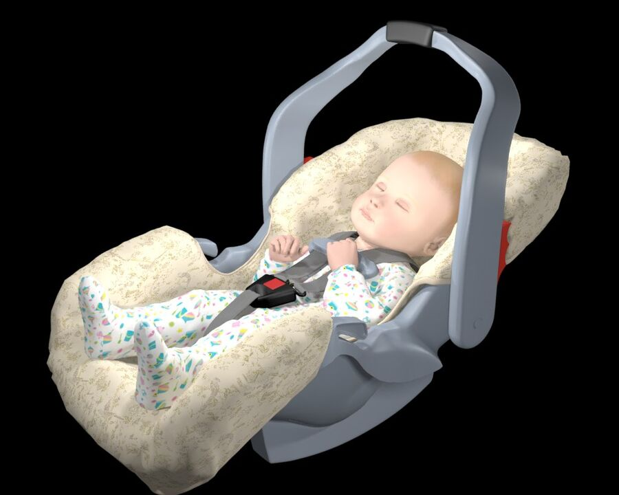 spädbarn i barnstol royalty-free 3d model - Preview no. 2
