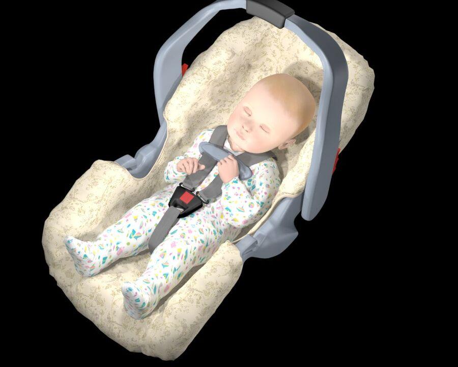 spädbarn i barnstol royalty-free 3d model - Preview no. 14