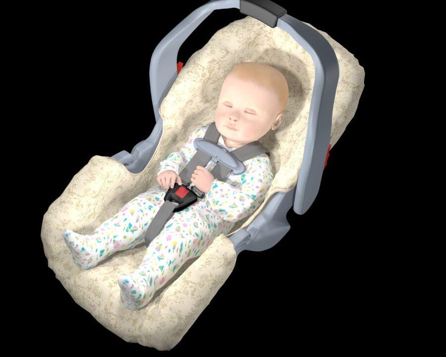 spädbarn i barnstol royalty-free 3d model - Preview no. 13