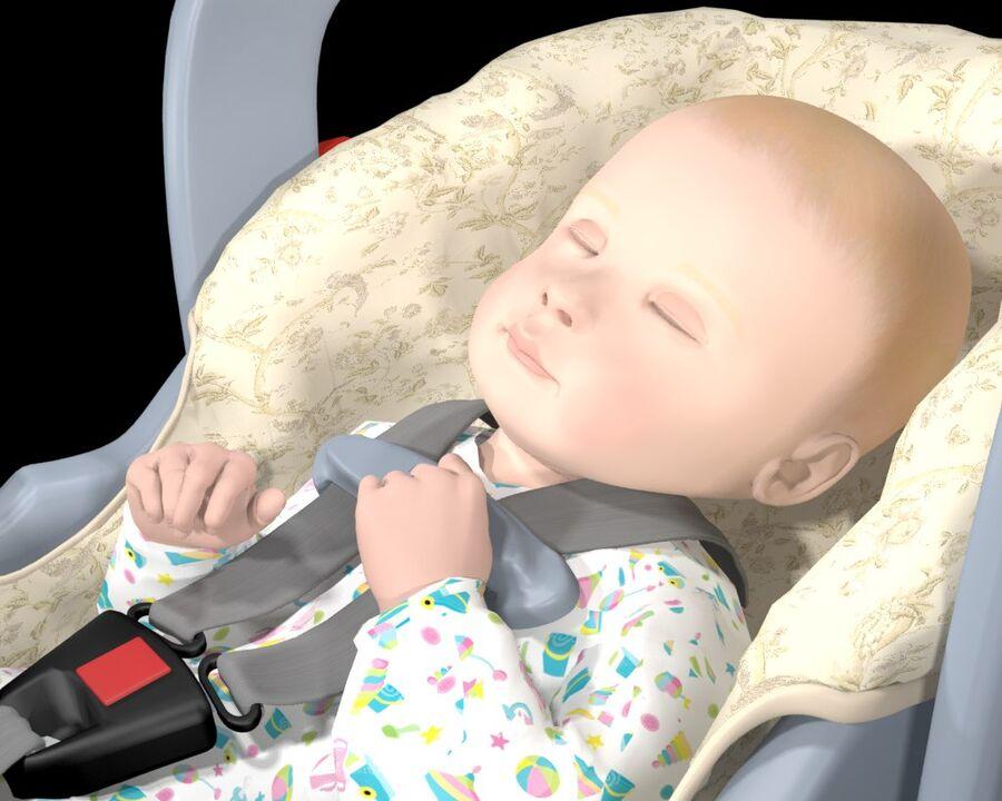 spädbarn i barnstol royalty-free 3d model - Preview no. 6