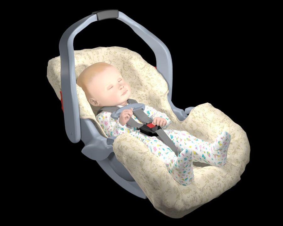 spädbarn i barnstol royalty-free 3d model - Preview no. 11