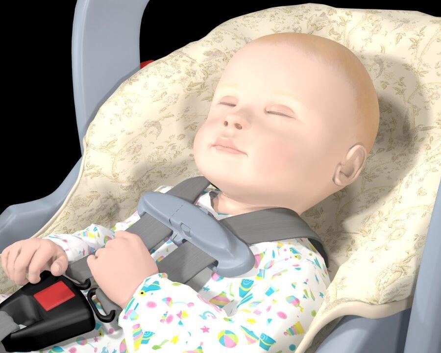 spädbarn i barnstol royalty-free 3d model - Preview no. 5