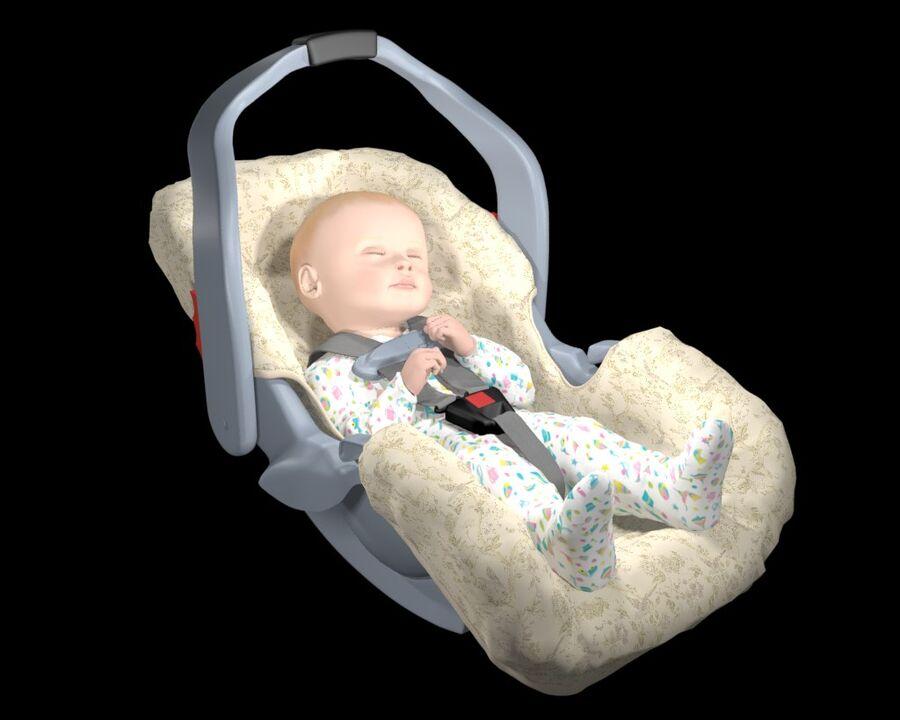 spädbarn i barnstol royalty-free 3d model - Preview no. 10