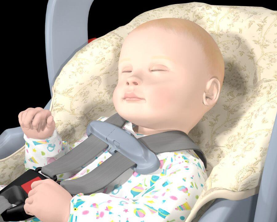 spädbarn i barnstol royalty-free 3d model - Preview no. 7