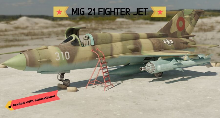 MiG 21-Rigged & Animated-인테리어 포함-M1 royalty-free 3d model - Preview no. 1