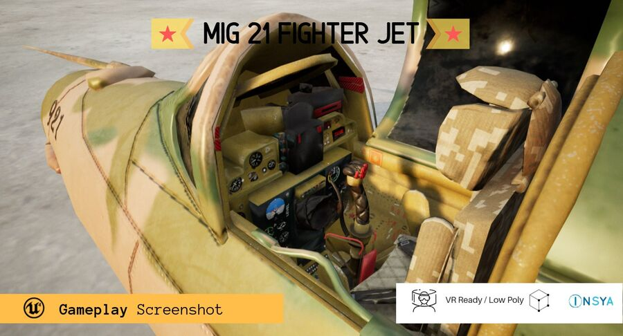 MiG 21-Rigged & Animated-인테리어 포함-M1 royalty-free 3d model - Preview no. 6