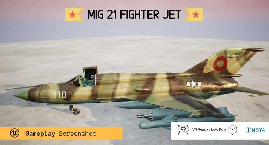 MiG 21-Rigged & Animated-인테리어 포함-M1 royalty-free 3d model - Preview no. 4