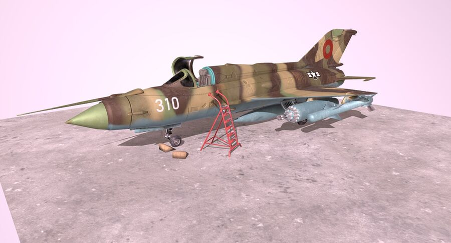 MiG 21-Rigged & Animated-인테리어 포함-M1 royalty-free 3d model - Preview no. 8