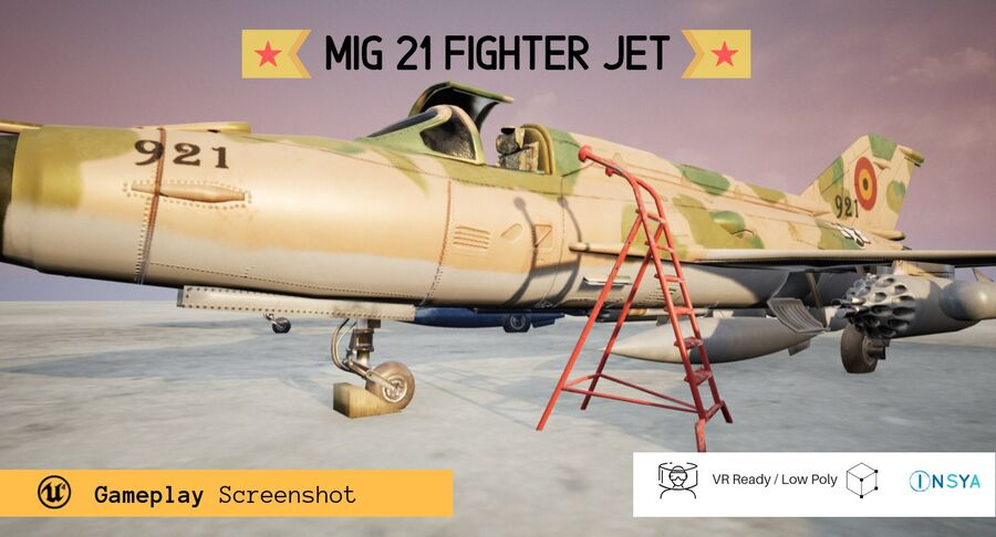 MiG 21-Rigged & Animated-인테리어 포함-M1 royalty-free 3d model - Preview no. 3
