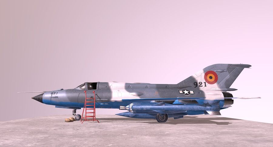 MiG 21-Rigged & Animated-인테리어 포함-M3 royalty-free 3d model - Preview no. 4