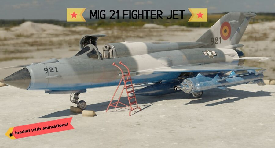 MiG 21-Rigged & Animated-인테리어 포함-M3 royalty-free 3d model - Preview no. 1