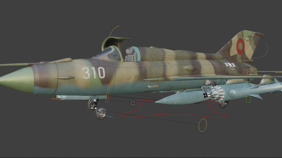 MiG 21-Rigged & Animated-인테리어 포함-M4 royalty-free 3d model - Preview no. 8