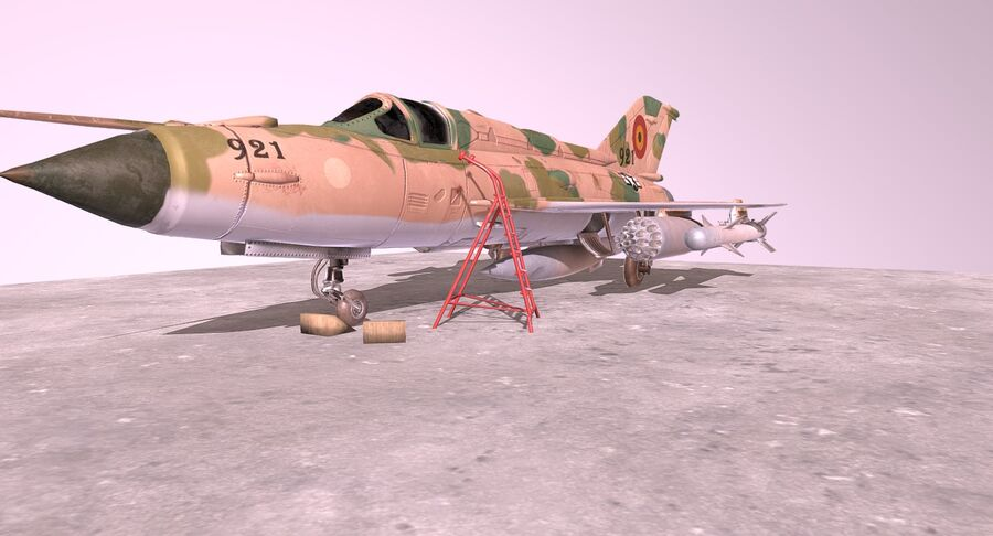 MiG 21-Rigged & Animated-인테리어 포함-M4 royalty-free 3d model - Preview no. 3