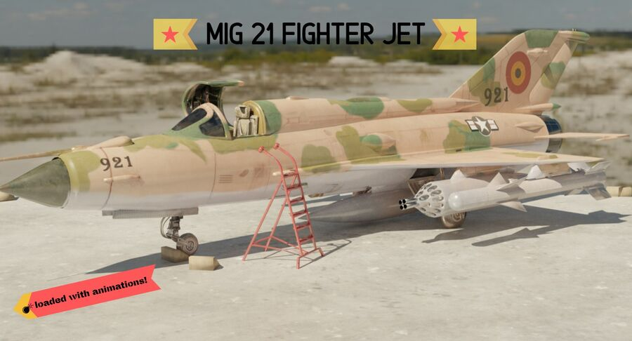 MiG 21-Rigged & Animated-인테리어 포함-M4 royalty-free 3d model - Preview no. 1