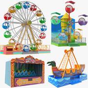 Quatro jogos de parque de diversões 3d model