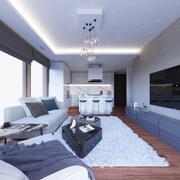 Mały pokój dzienny i kuchnia 3d model
